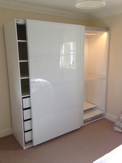 Ikea PAX sliding Farvik glass doors interiors lighting wardrobes assembled by www.norwichflatpack.co