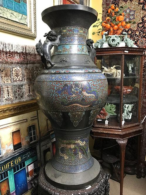 Cloisonne Black Vase