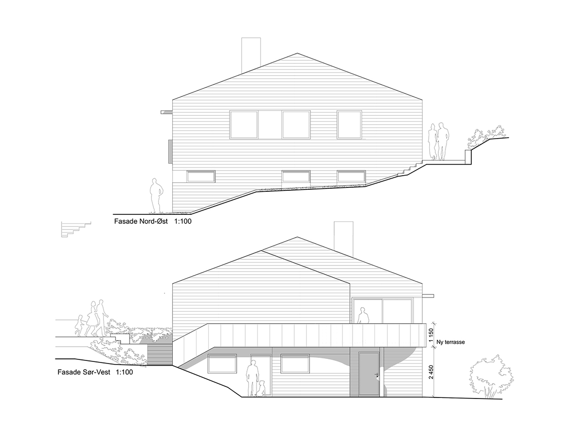 Fasade nordøst og sørvest