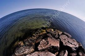 Fisheye Ocean Rock