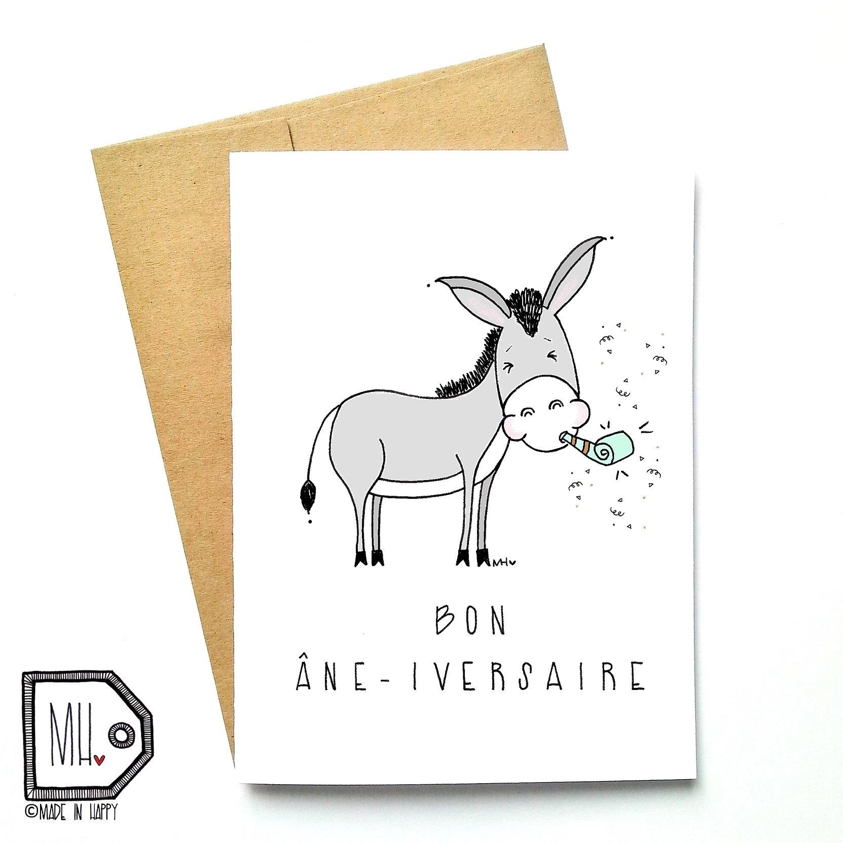 Made in Happy Montr al Michellehoude – Donkey Birthday Card