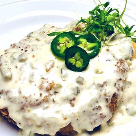 Rice Krispie Crusted Chicken Fried Pork Chops with Jalapeno Cream Gravy