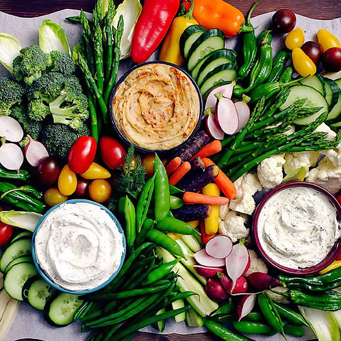 Organic, Seasonal Fresh Vegetable Crudite Display
