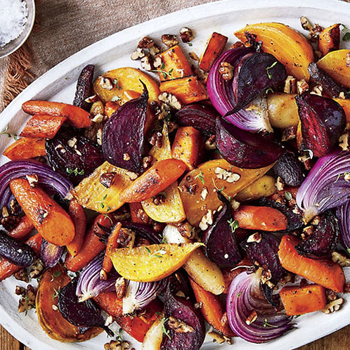 Honey- Roasted Root Vegetables With Goat Cheese Crumbles