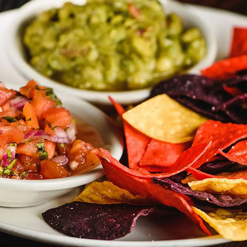 Tri-Color Tortilla Chips with Salsa and Guacamole Platter