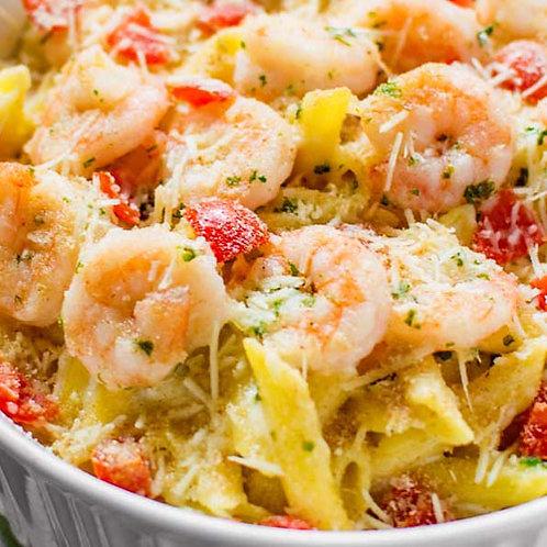 Jumbo Shrimp Francese Over Penne Pasta