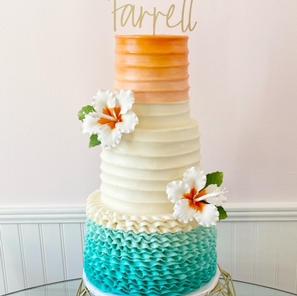 teal and coral wedding cake.jpg