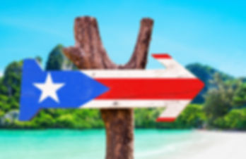 Puerto Rico Flag wooden sign with beach