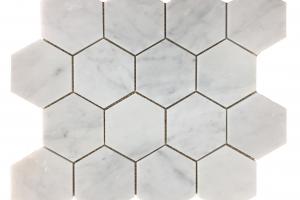 Carrara White Hexagon 3x3