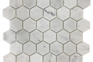 White Carrara Hexagon 2x2