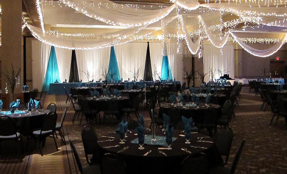 black turquoise wedding decor