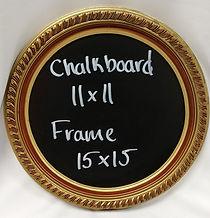 round gold rental chalkboard