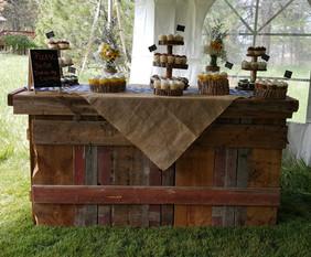 barnwood dessert table rental