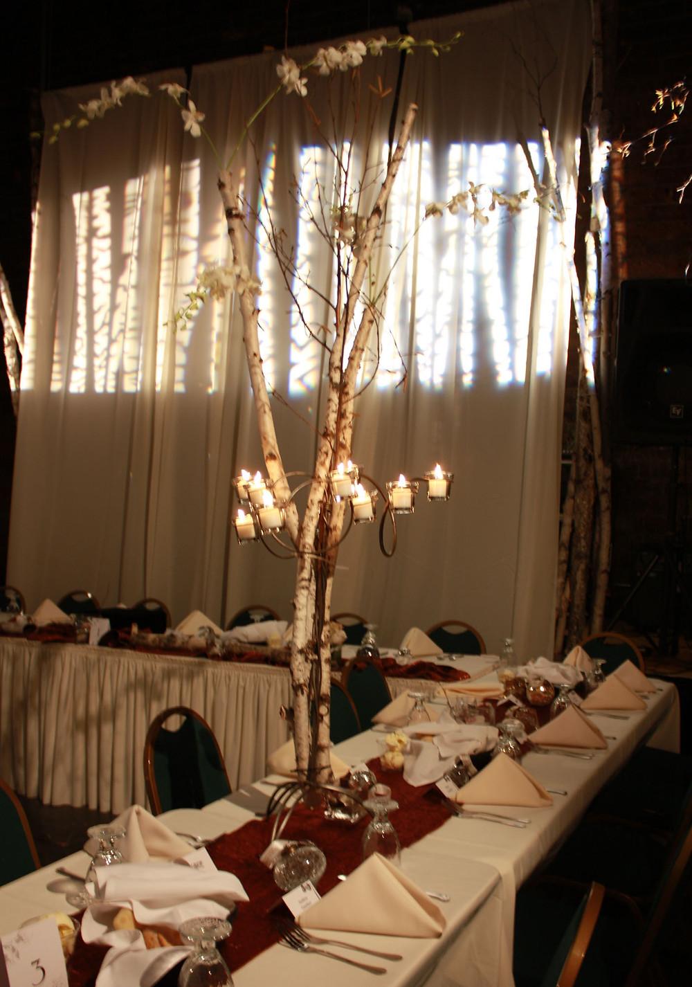 birch tree orchid centerpiece