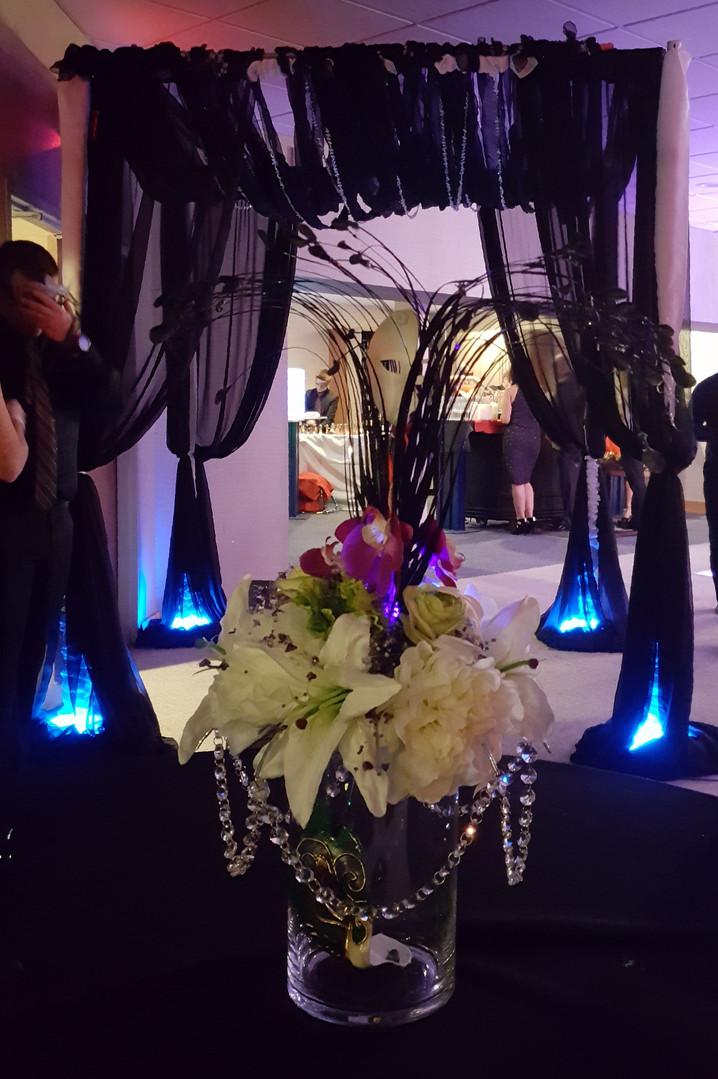 black party entryway