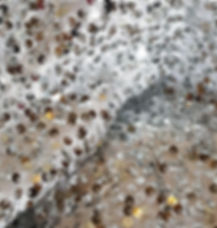 Silver Sequin on White Tafetta Linen