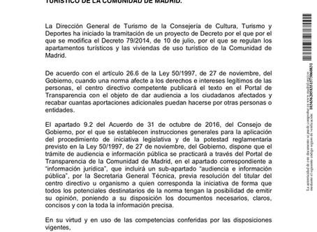 Madrid Publica el Borrador del Decreto que Regula Las Viviendas de Uso Turístico 2017-2018