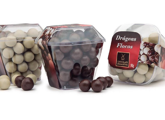 DRÁGEAS DE FLOCOS DE CHOCOLATE BRANCO 90G