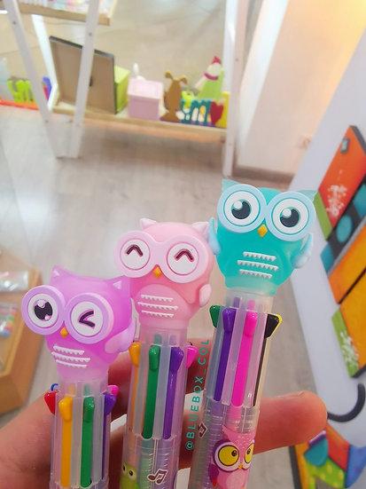 Bolígrafo 8 colores Buho