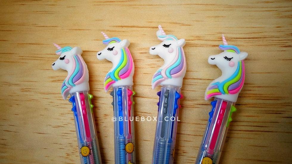 Bolígrafo 6 colores Unicornio