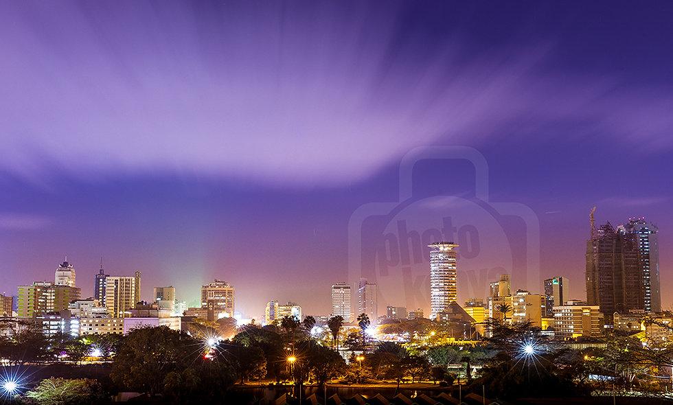 Nairobi City Purple Night Sky