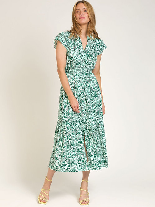 Long and Fluid Printed Dress Green