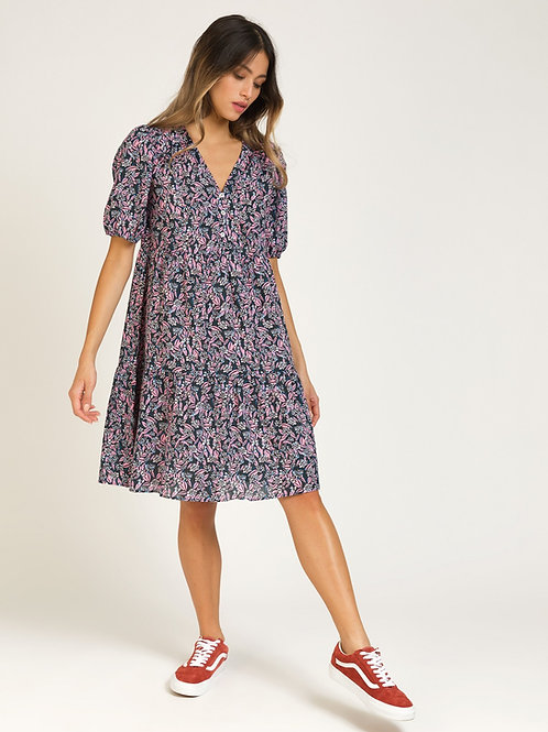 Short Printed Cotton Dress with Ruffles - Pink/Navy