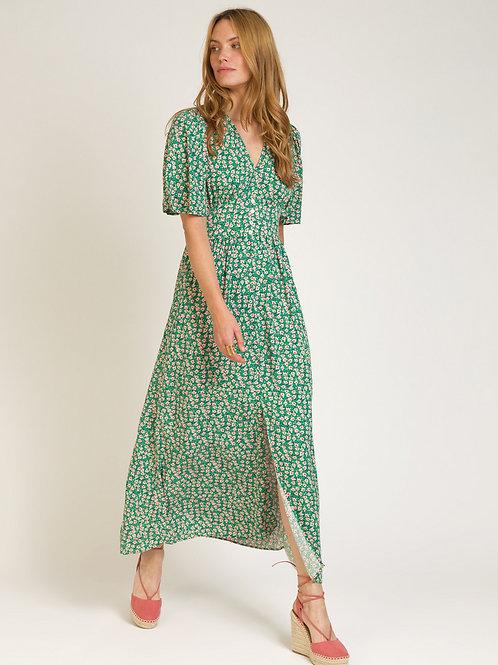 Printed Long Floral V-neck Dress Green