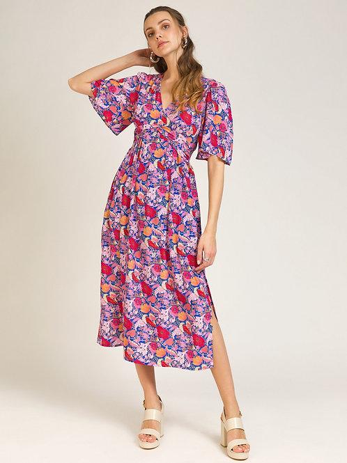 Printed Long Dress Pink Blue