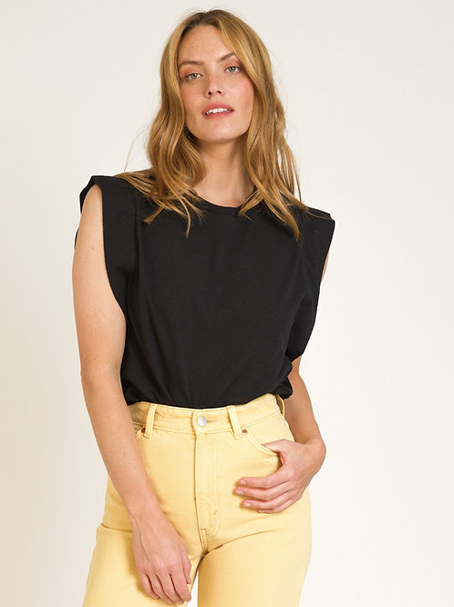 Soft Ruffle Modal/Cotton Top Black
