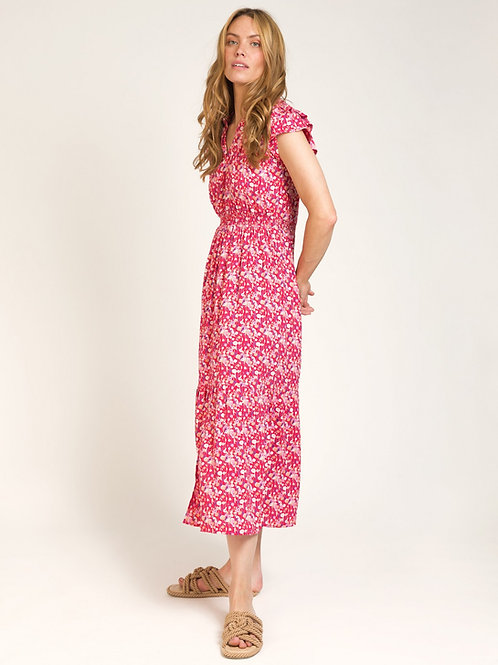 Long and Fluid Printed Dress Red