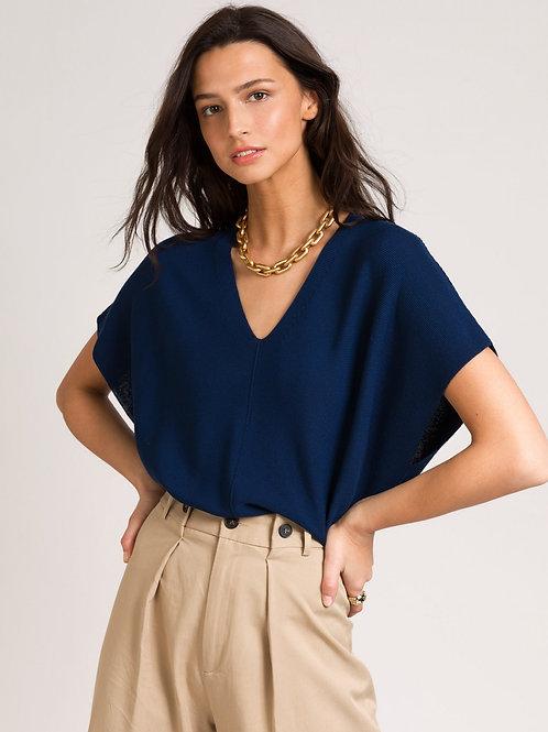 V-neck Knit Top Marine Blue
