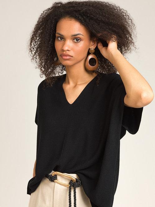 V-neck Knit Top Black