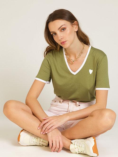 Khaki V-neck T-Shirt w/ White Heart