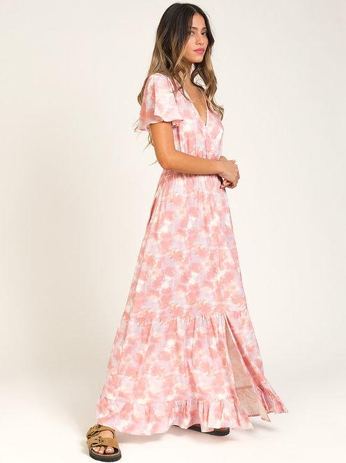 Printed V-neck Long Dress Pink