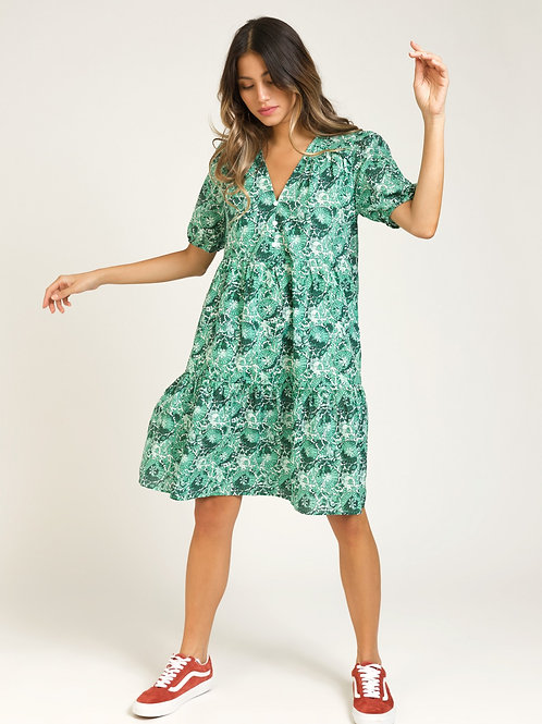 Short Printed Cotton Dress with Ruffles - Green/White