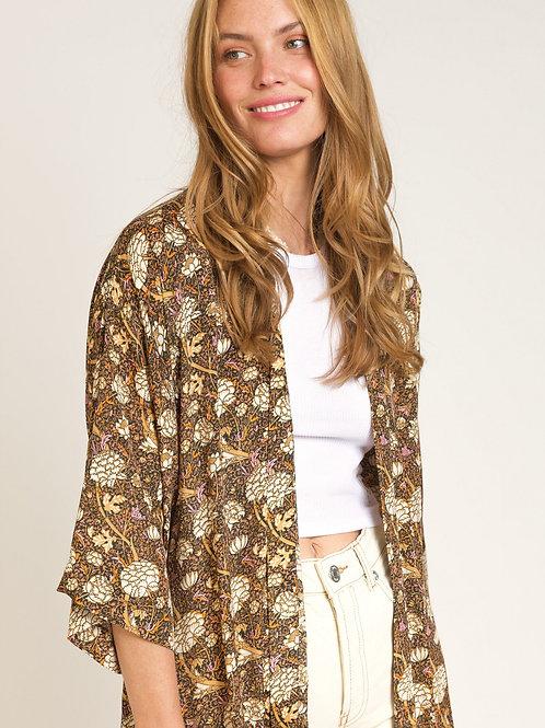 Long Printed Kimono Golden Hues