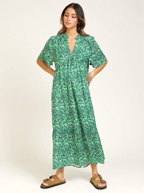 Long and Fluid Tunisian Style Dress - Green