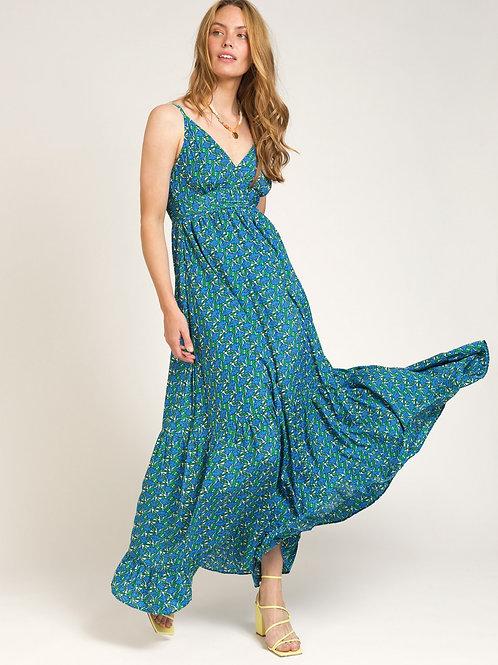 Long Boho Dress with Thin Straps Blue