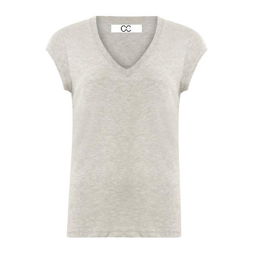 CC Heart V-Neck T-Shirt Light Grey Melange