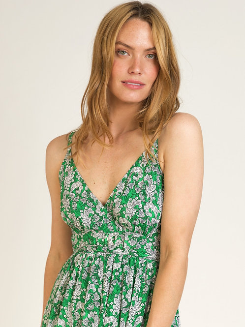 Long Boho Dress with Thin Straps Green