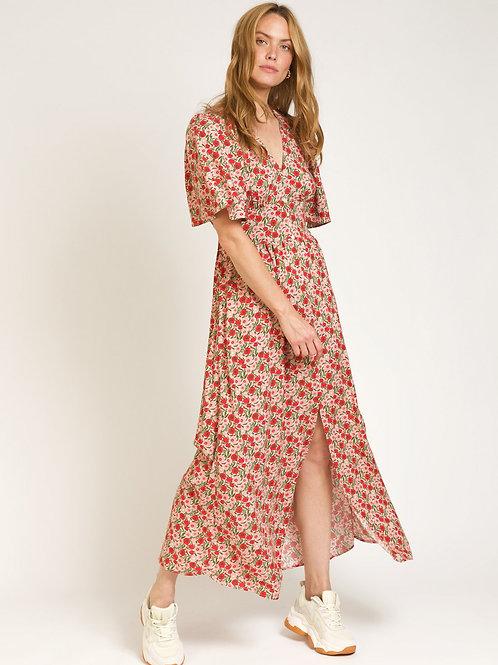 Printed Long Floral V-neck Dress Red