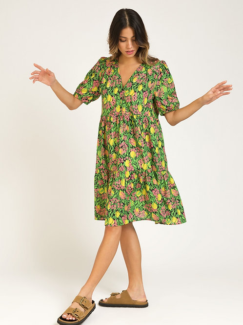 Short Printed Cotton Dress with Ruffles - Citron
