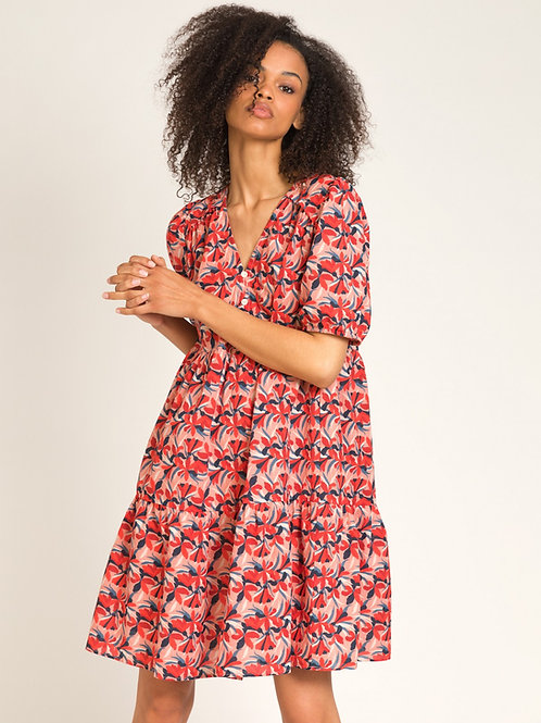Short Printed Cotton Dress with Ruffles
