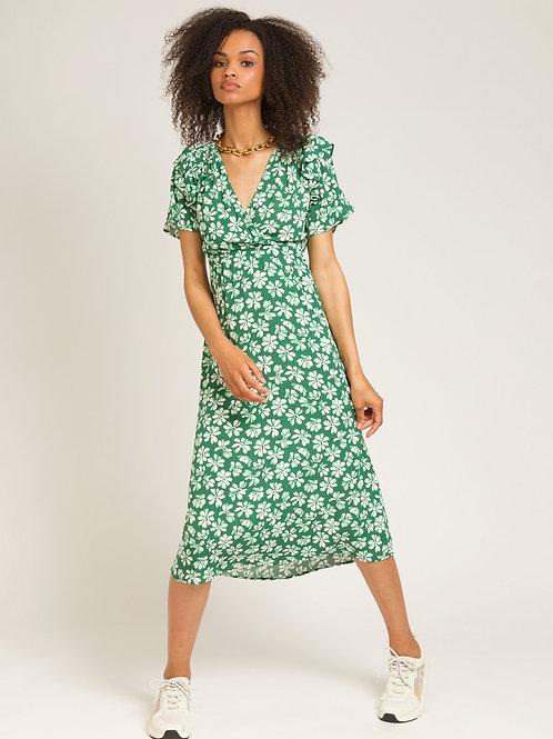 Printed Midi Dress Green/White