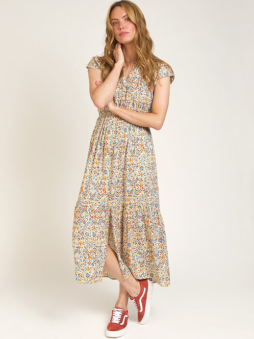 Long and Fluid Printed Dress Yellow