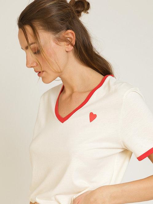 Ecru V-neck T-Shirt w/ Coral Heart