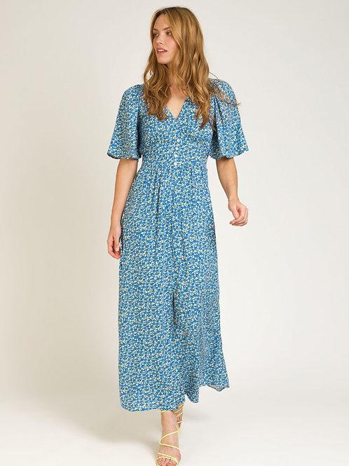 Printed Long Floral V-neck Dress Blue