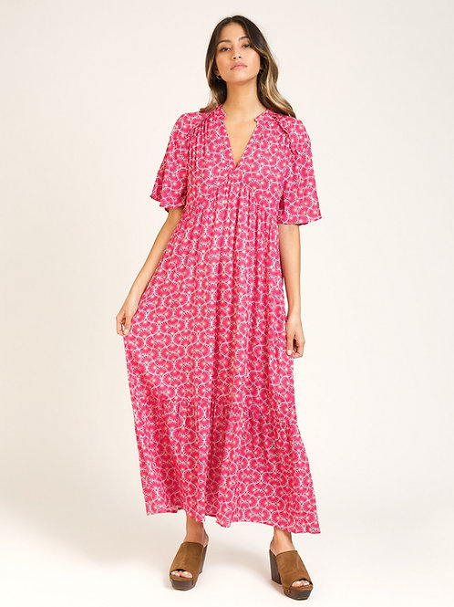 Long and Fluid Tunisian Style Dress - Red
