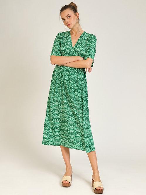 Printed Long Dress Green